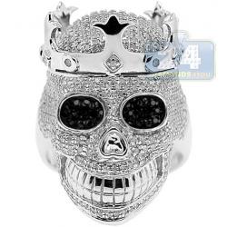 925 Sterling Silver 2.75 ct White Diamond Mens Skull Ring