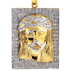 10K Yellow Gold 0.48 ct Diamond Jesus Christ Face Medallion Pendant