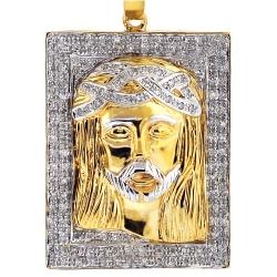 10K Yellow Gold 0.48 ct Diamond Jesus Christ Face Medallion