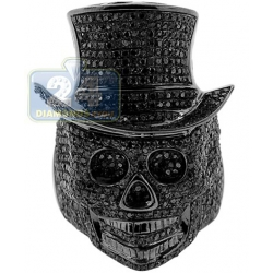 Black PVD 925 Sterling Silver 3.00 ct Diamond Mens Skull Ring