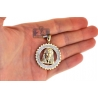 10K Yellow Gold 0.64 ct Diamond Jesus Mens Framed Pendant