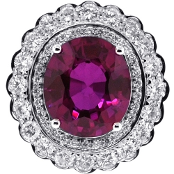 18K White Gold 13.03 ct Ruby Diamond Womens Flower Ring