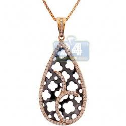 14K Yellow Gold 0.47 ct Diamond Womens Drop Leaf Pendant