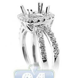 18K White Gold 0.92 ct Diamond Engagement Semi Mount Setting