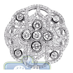 18K White Gold 1.71 ct Diamond Cluster Womens Vintage Ring