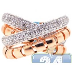 18K Rose Gold 1.50 ct Diamond Womens Crisscross Ring