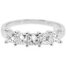 14K White Gold 1.83 ct 5 Stone Princess Cut Diamond Anniversary Ring