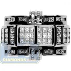 Black 14K White Gold 1.60 ct Diamond Mens Signet Ring
