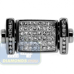 Black 14K Gold 1.50 ct Diamond Mens Rectangle Signet Ring
