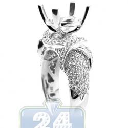 18K White Gold 1.55 ct Diamond Semi Mount Engagement Ring Setting