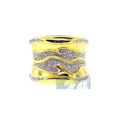 18K Yellow Gold 0.30 ct Diamond Wave Womens Band Ring