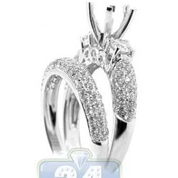 18K Gold 1.08 ct Diamond Engagement Wedding Semi Mount Ring Set