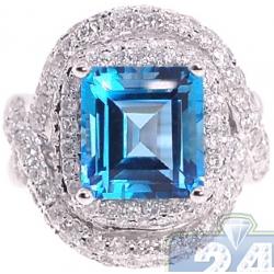 14K White Gold 10.95 ct Blue Topaz Diamond Womens Cocktail Ring