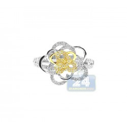 14K Two Tone Gold 0.70 ct Womens Diamond Rose Ring