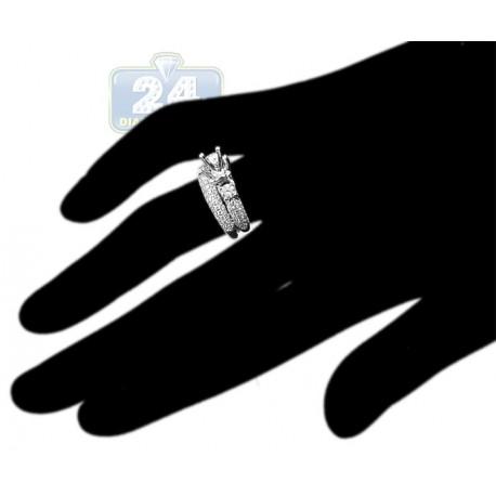 18K Gold 1.08 ct Diamond Engagement Wedding Semi Mount Rings Set