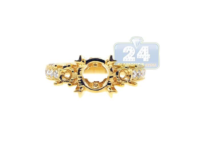 18K Yellow Gold 0 75 ct Diamond Engagement Ring Setting