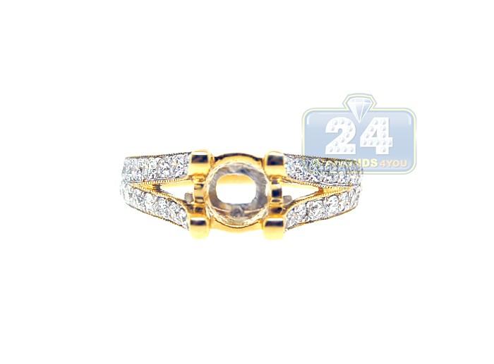 18K Yellow Gold 0 89 ct Diamond Engagement Ring Setting