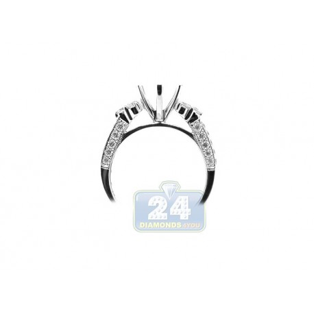 18K White Gold 0.81 ct VS1 F Diamond Engagement Ring Setting