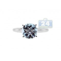 14K White Gold 1.52 ct Aquamarine Engagement Ring