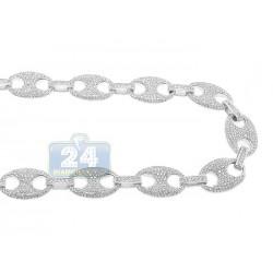 14K White Gold 21.52 ct Diamond Mens Chain 31 1/8 Inches