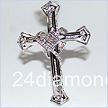 14K White Gold Cross 0.70 ct Diamond Mens Pendant - 24diamonds.com
