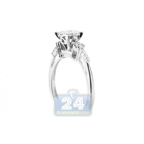 14K White Gold 0.45 ct Diamond Cluster Vintage Engagement Ring