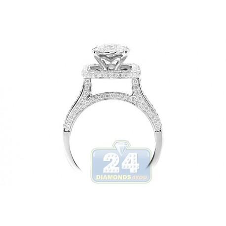 14K White Gold 1.39 ct Diamond Cluster Engagement Ring