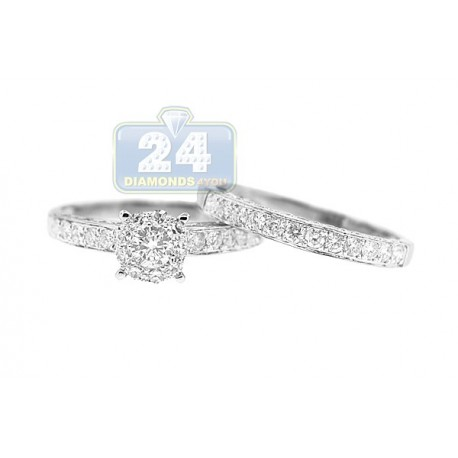 14K White Gold 1.31 ct Diamond Engagement Wedding Rings Set