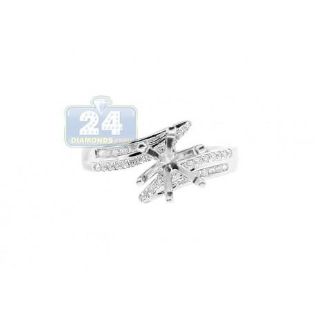 14K White Gold 0.20 ct Diamond Engagement Ring Setting