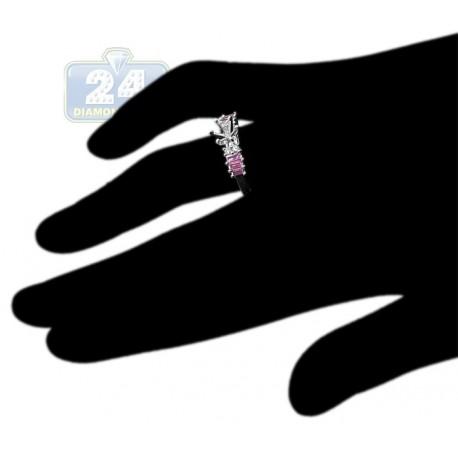 14K White Gold 0.65 ct Diamond Pink Sapphire Engagement Ring Setting