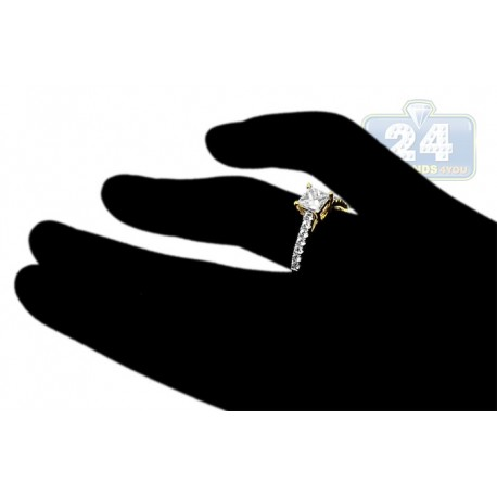 14K Yellow Gold 1.00 ct Princess Cut Diamond Engagement Ring