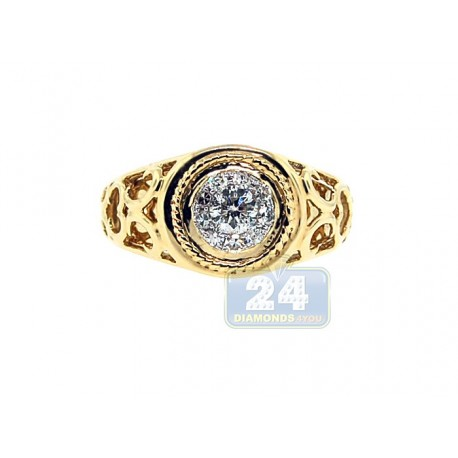 14K Yellow Gold 0.51 ct Diamond Vintage Openwork Mens Ring