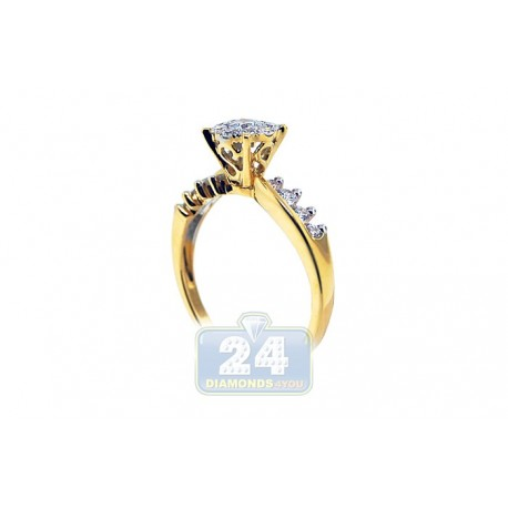 14K Yellow Gold 0.72 ct Round Cut Diamond Vintage Engagement Ring
