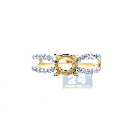 14K Yellow Gold 0.52 ct Diamond Openwork Engagement Ring Setting