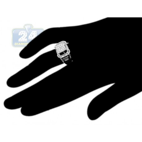 14K White Gold 1.12 ct Mixed Diamond Womens Engagement Ring
