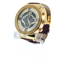 Aqua Master Exclusives Round Gold Plated Diamond Mens Watch