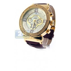 Aqua Master Exclusives Gold Steel Diamond Mens Watch on Leather Band