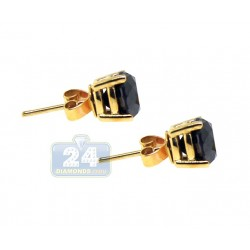 10K Yellow Gold 4.48 ct Black Diamond Womens Stud Earrings