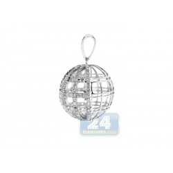14K White Gold 1.36 ct Diamond Womens Globe Pendant