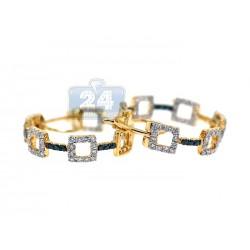 14K Yellow Gold 1.50 ct Diamond Hoop Earrings