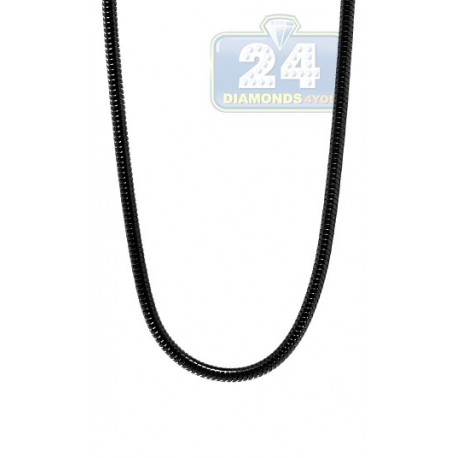 Black PVD Stainless Steel Snake Mens Chain 36 Inches