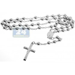 925 Sterling Silver Mens Rosary Necklace 5 mm 19 1/4 Inches