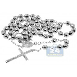 925 Sterling Silver Mens Diamond Cut Rosary Necklace 19 1/4 Inches