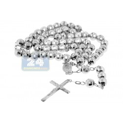 925 Sterling Silver Mens Diamond Cut Rosary Necklace 22 Inches