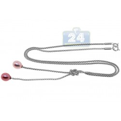 925 Sterling Silver Natural Pearl Womens Necklace 11 1/8 Inches