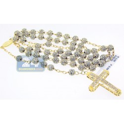 14K Yellow Gold 29.00 ct Diamond Rosary Beads Mens Necklace