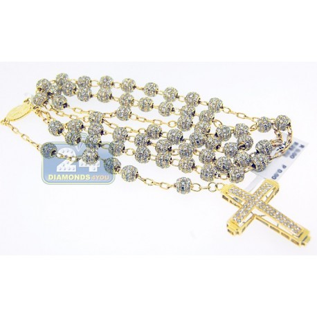 Mens Diamond Rosary Beads Cross Necklace 14K Yellow Gold 29.00ct