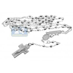 10K White Gold Mens Rosary Necklace 16 Inches