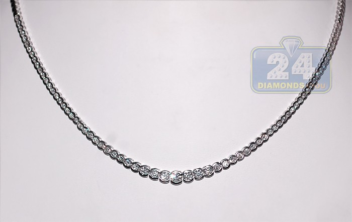 18k White Gold 4 16 Ct Diamond Womens Tennis Necklace