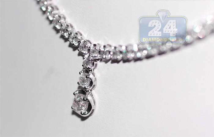 717e1f86398 Womens Diamond Drop Y Shape Tennis Necklace 18K White Gold 16